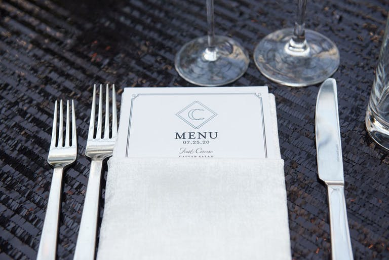 Wedding Reception Table With Black Sequined Linen and White Menus | PartySlate