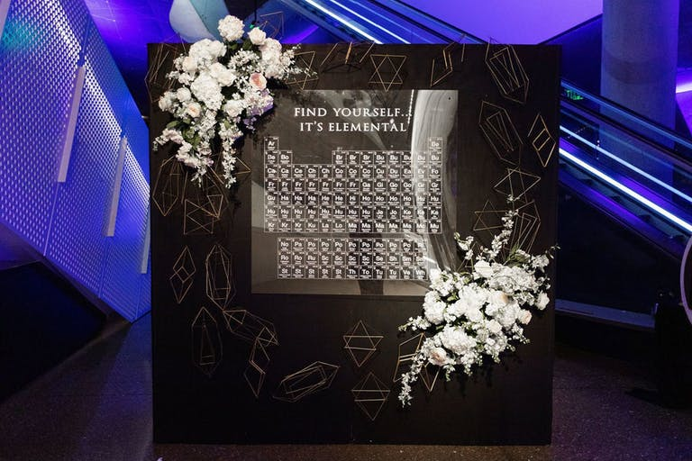 Black and White Science-Themed Wedding With Periodic Table Seating Chart | PartySlate
