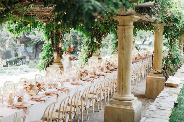 Top 2020 celebration elegant rehearsal dinner with beautiful greenery | PartySlate
