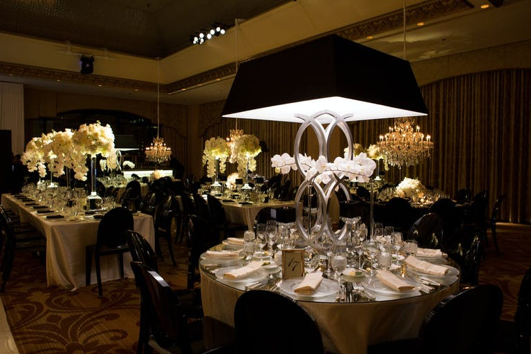 Black and White Wedding with Towering Lamp Centerpieces | PartySlate
