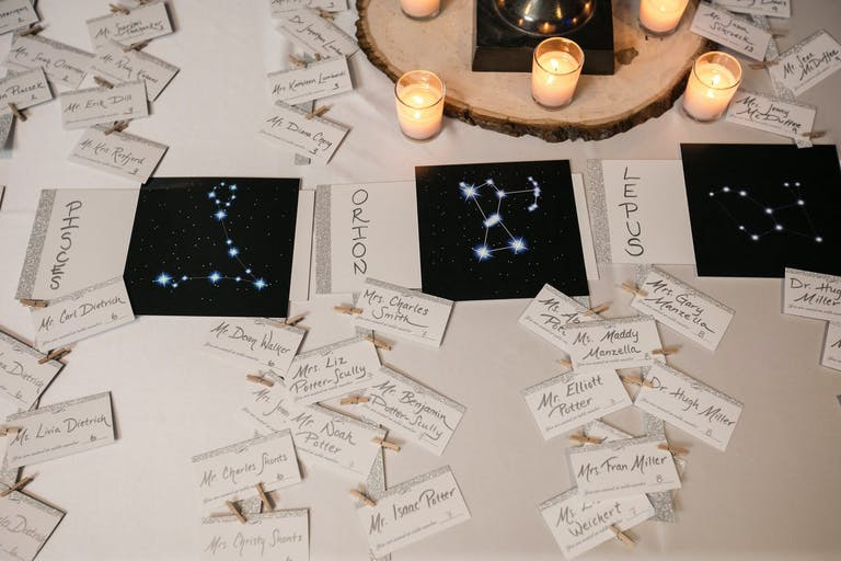 Wedding Seating Cards With Constellation Designs | PartySlate