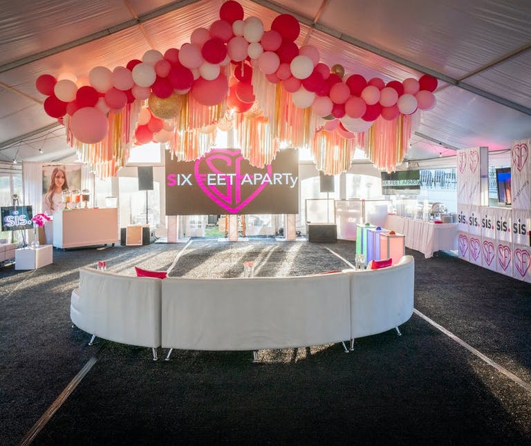 Pink and white themed six feet apart themed Bat Mitzvah