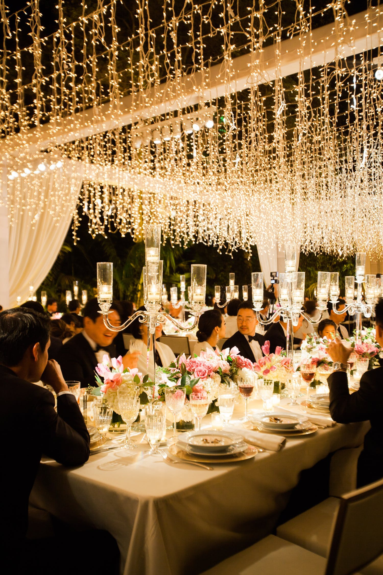 Tented Wedding Reception With Twinkling Lights by Hire Elegance Rentals   PartySlate