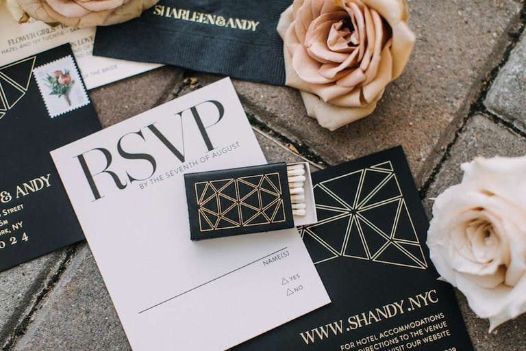 Invitation and Match Box Party Favor in Black and White Wedding Colors | PartySlate