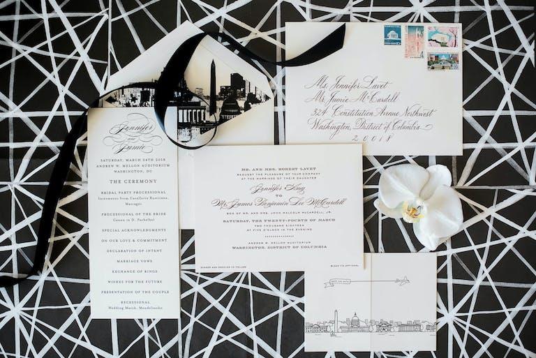 Black and White Wedding Invitations With Washington D.C. Skyline | PartySlate