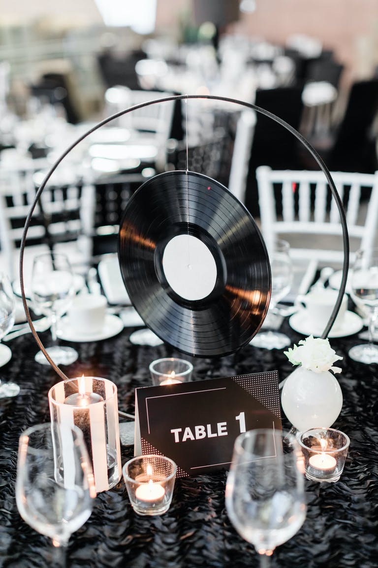 Creative vinyl idea for a centerpiece | PartySlate