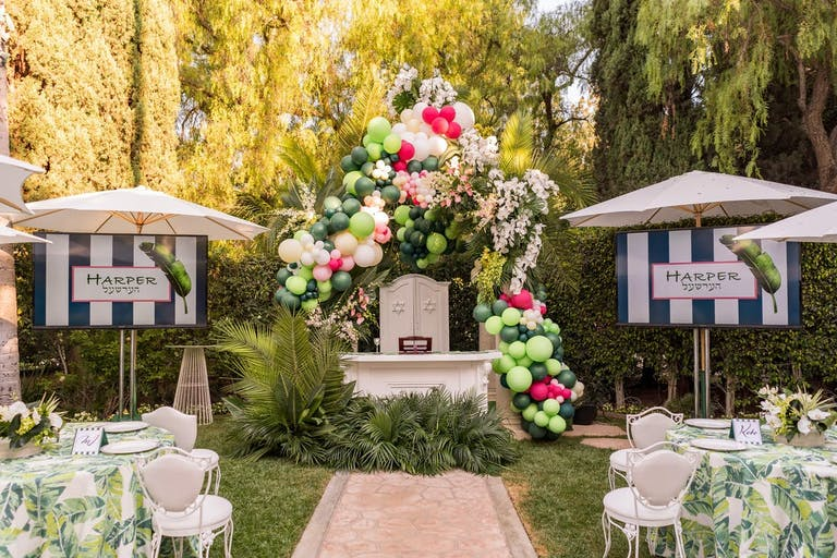 Tropical outdoor themed Bar Mitzvah party | PartySlate