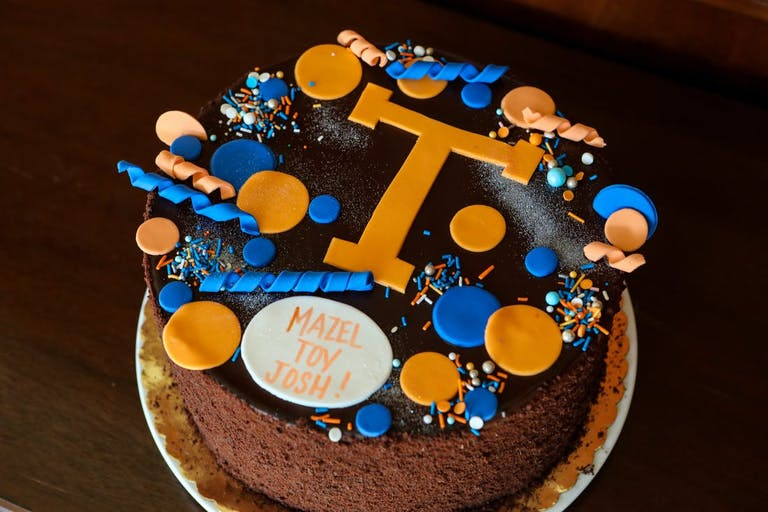 Mini Mitzvah celebration cake blue and orange | PartySlate