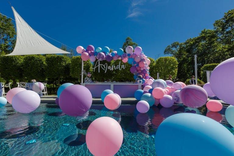 Blue pink and purple backyard bat mitzvah | PartySlate