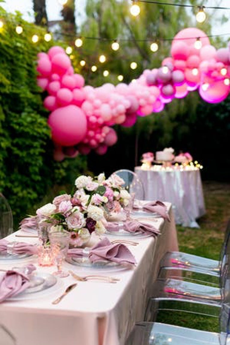 Pink themed micro backyard bat mitzvah | PartySlate