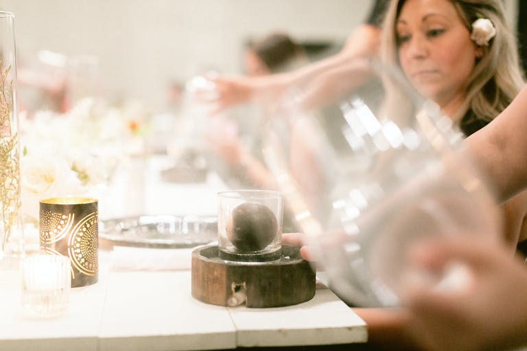 Summer Dinner Party at an Elegant Private Venue in the South With Bitter Cocoa Guinness Ice Ball | PartySlate