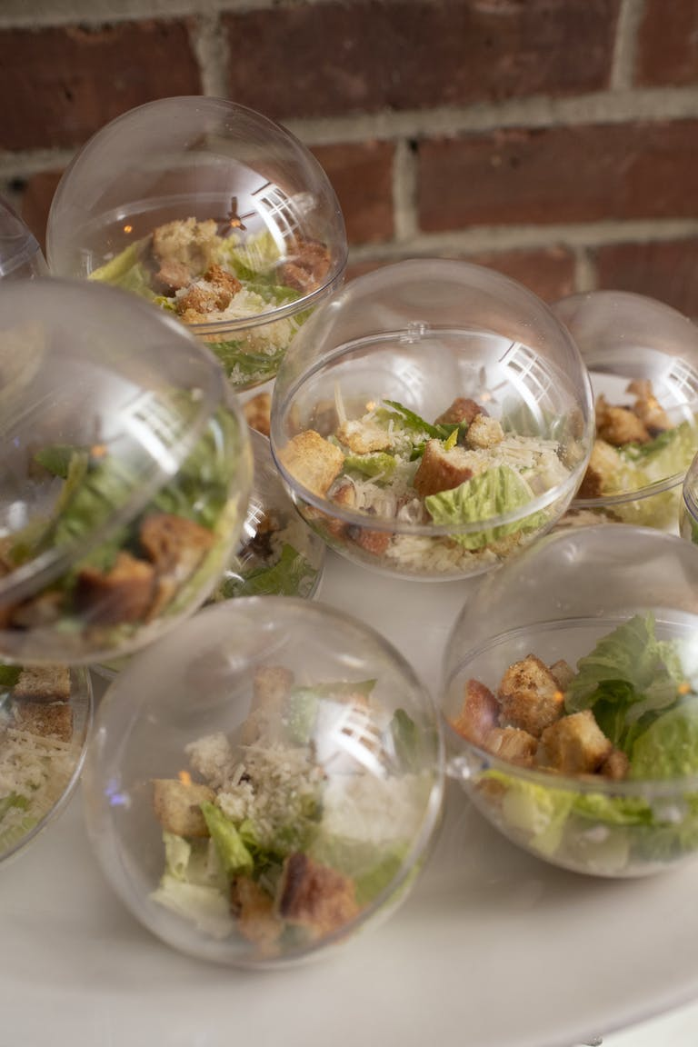 Winter Wonderland Bat Mitzvah With Salads in Glass Orbs | PartySlate