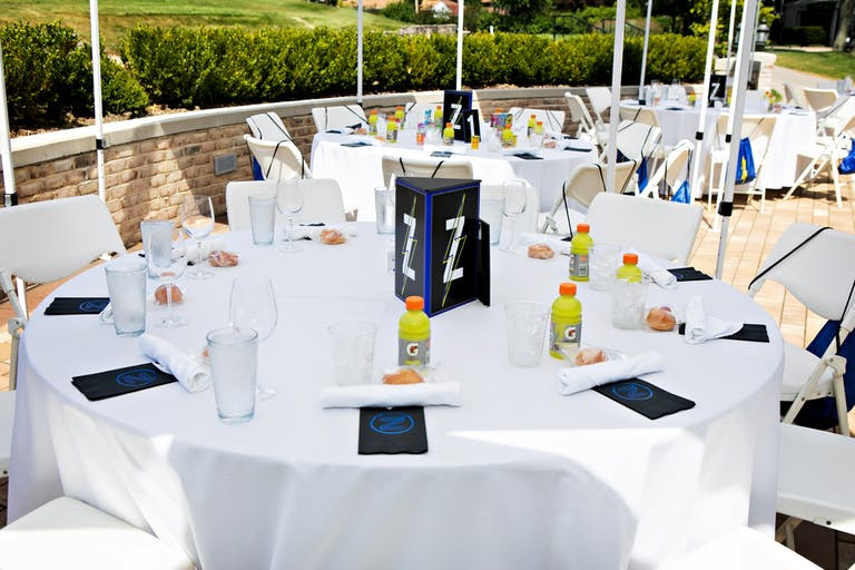 Zach's Blue and Neon Yellow Outdoor Bar Mitzvah Celebration Luncheon
