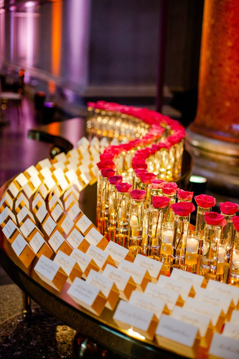 Gold and red seating display   PartySlate