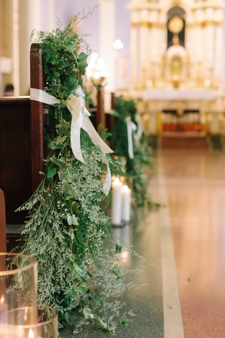 Wedding Aisle Marker With Modern Organic Greenery   PartySlate