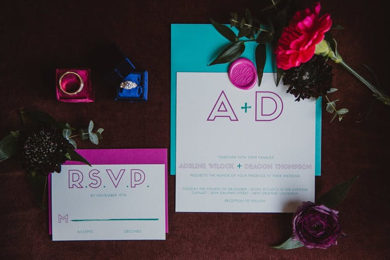 Blue and purple bold colored RSVP cards for a modern wedding   PartySlate