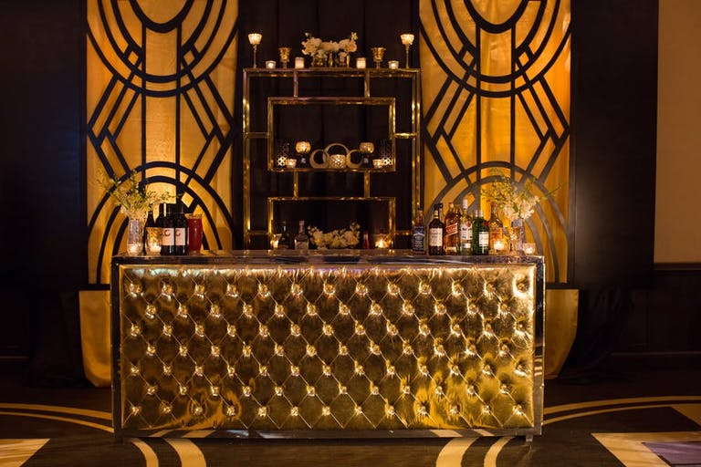 Gold bar with deco designs | PartySlate