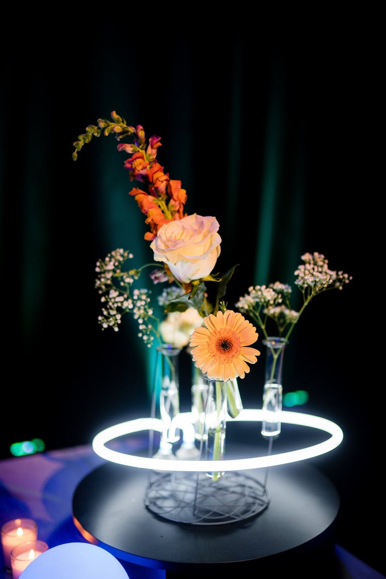 Neon Centerpiece at Neon Party   PartySlate