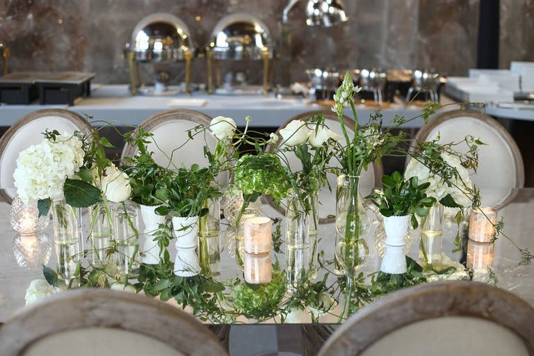 Modern Wedding With Organic Greenery Centerpieces   PartySlate