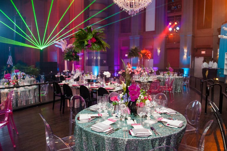 Neon Party With Fanned Green Laser Lighting   PartySlate