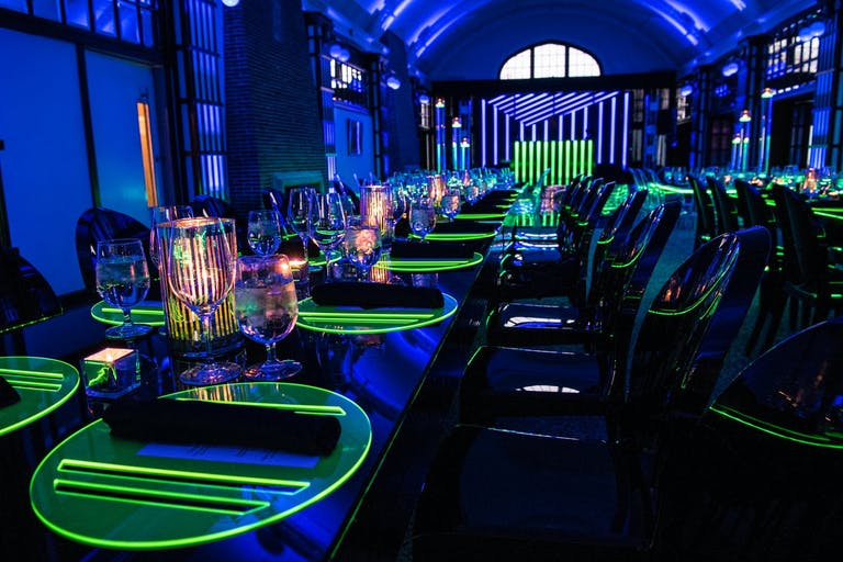 Neon Bar Mitzvah Party With Glow Tablescape   PartySlate