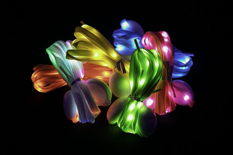 Glow-in-the-Dark Colorful Shoe Lace Party Favors from Mitzvah Party   PartySlate