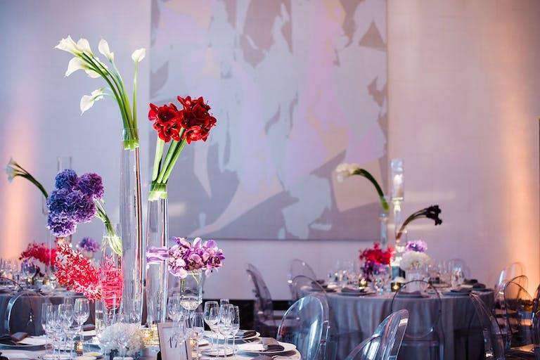Modern floral centerpieces   PartySlate