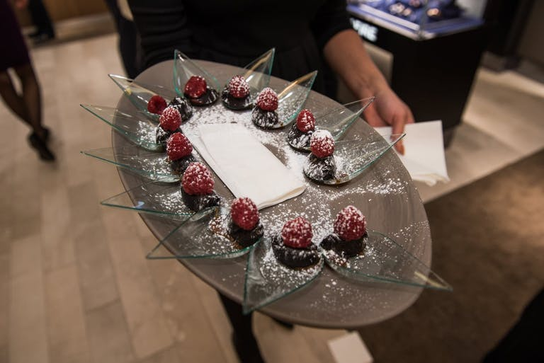 Passed dessert bites on lucite spoons by Chef CW | PartySlate