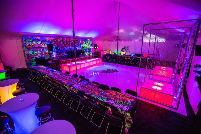Graffiti-Themed Bar Mitzvah Party With Neon Staging   PartySlate
