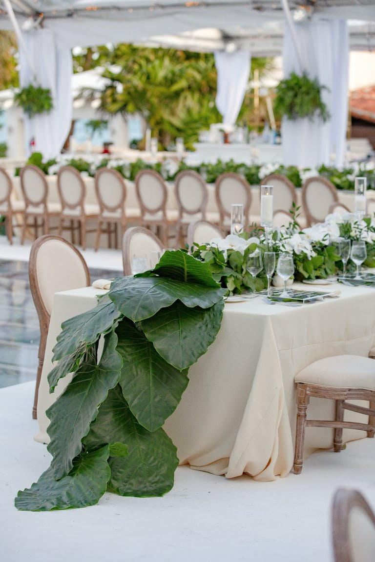 Modern Wedding Tablescape With Giant Cascading Tropical Leaf Table Runner   PartySlate