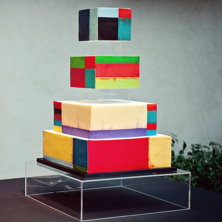 Colorful abstract modern wedding cake   PartySlate