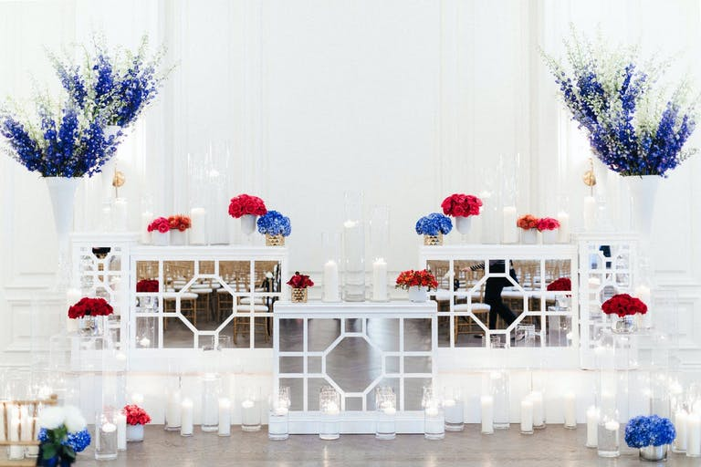 White blue and red modern wedding theme decor   PartySlate