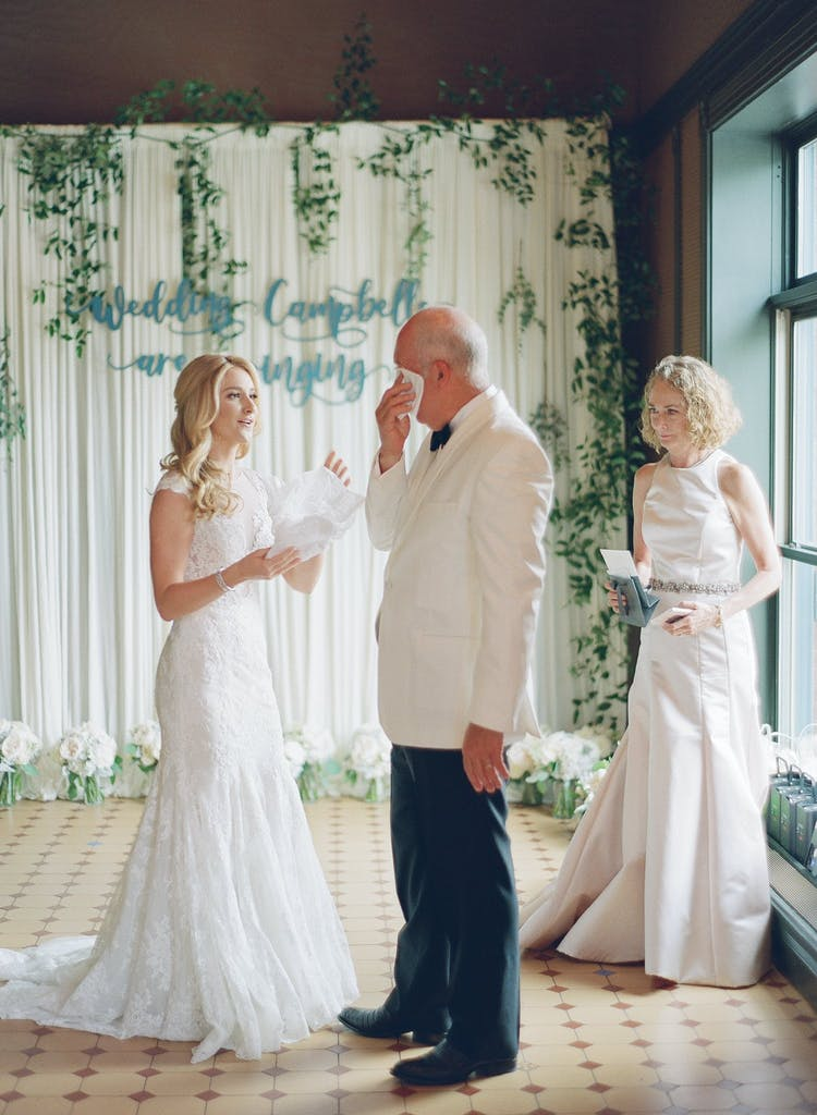 Father Wipes Tears From His Eyes at First Look With His Daughter in Wedding Dress | PartySlate
