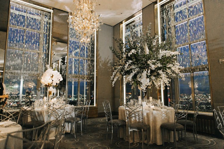 Crystal beaded curtains at modern wedding   PartySlate