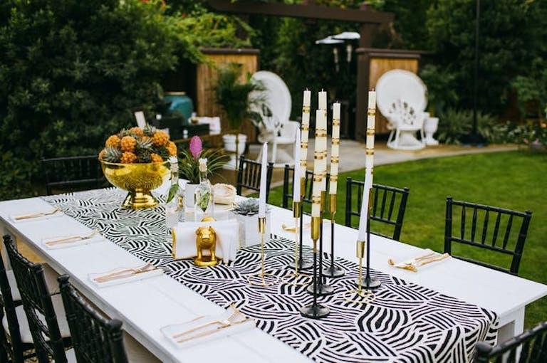 Zebra inspired table runner for a modern wedding   PartySlate
