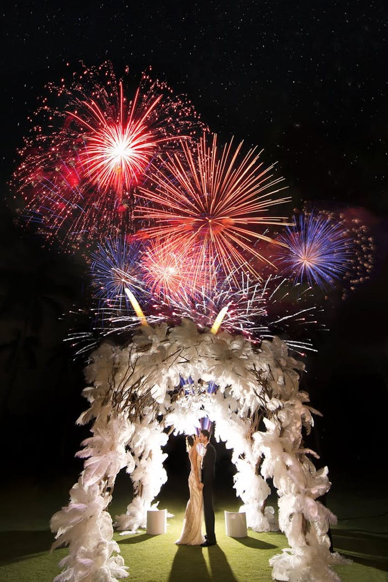 Grand firework display at the end of a wedding reception | PartySlate