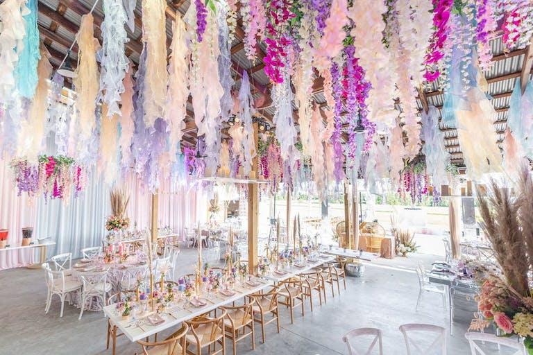 Pastel ribbons for a boho modern wedding