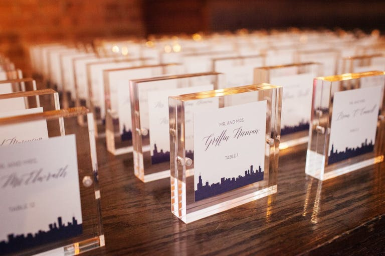 Clear seating cards with custom stickers   PartySlate