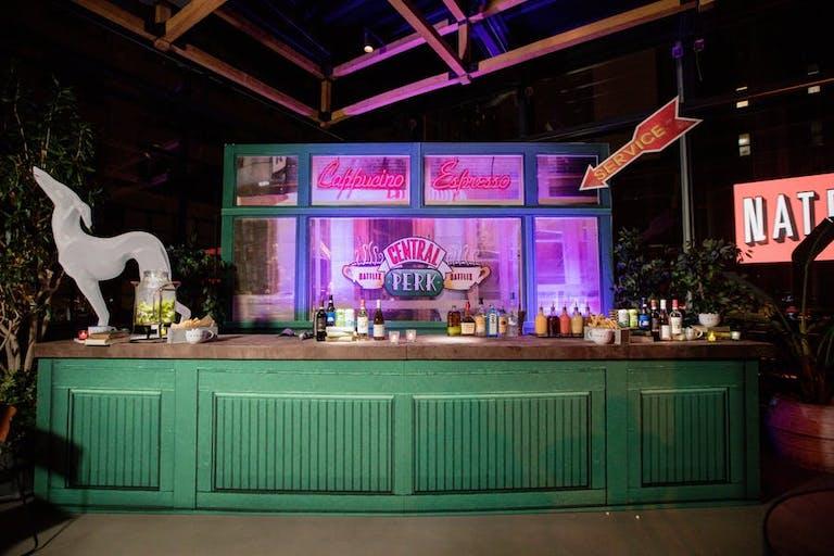 Central Perk Friends themed green bar at Bat Mitzvah   PartySlate
