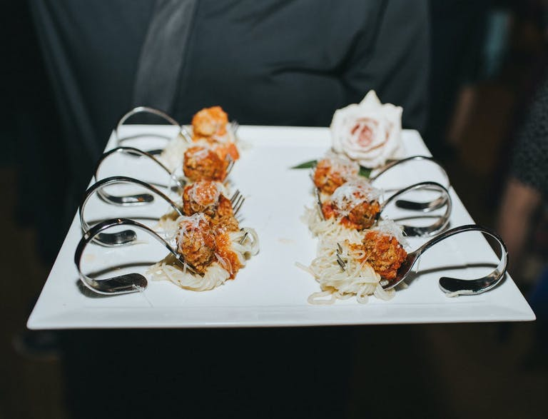 Appetizer spoons on a serving tray   PartySlate