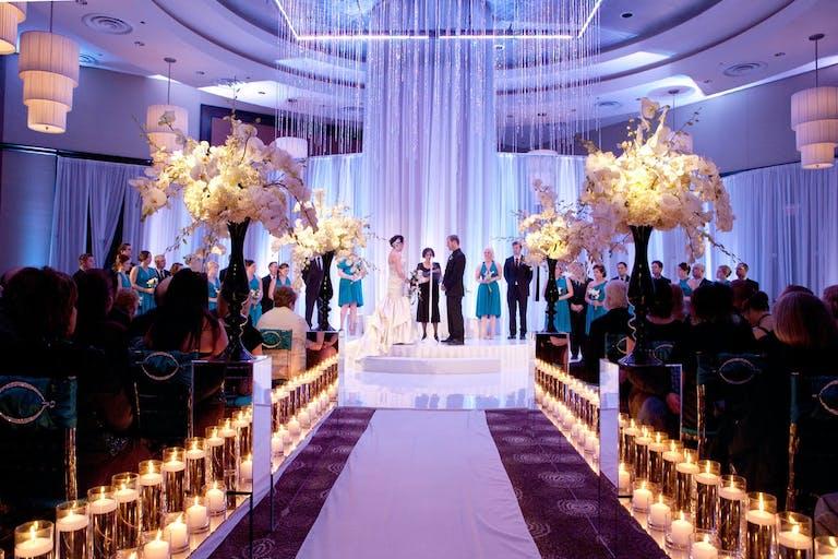 Cascading shimmering tassels for modern wedding decor   PartySlate
