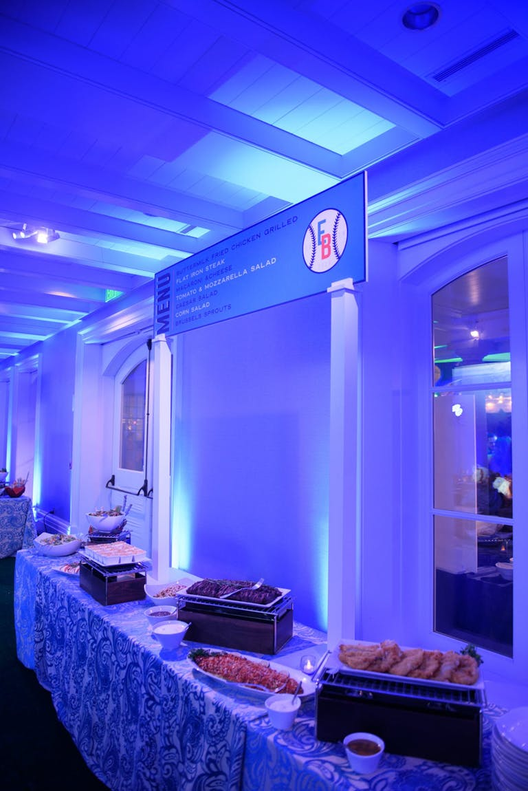 Food Station at Glow-in-the-Dark Baseball-Themed Bar Mitzvah Party   PartySlate