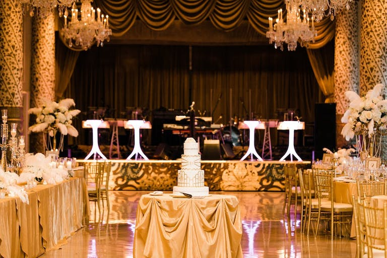 Gold wedding reception for a Gatsby theme | PartySlate