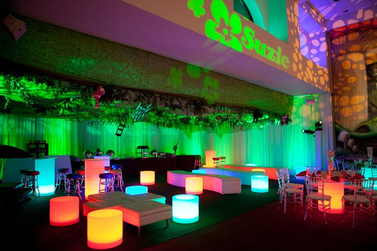 Alice in Wonderland-Themed Bat Mitzvah Party With Neon Lounge Area   PartySlate
