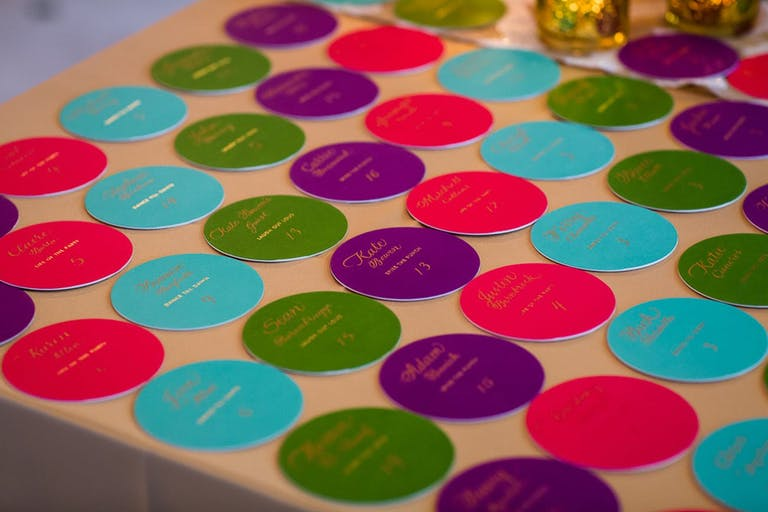 Table seating placements on colorful polka dots   PartySlate