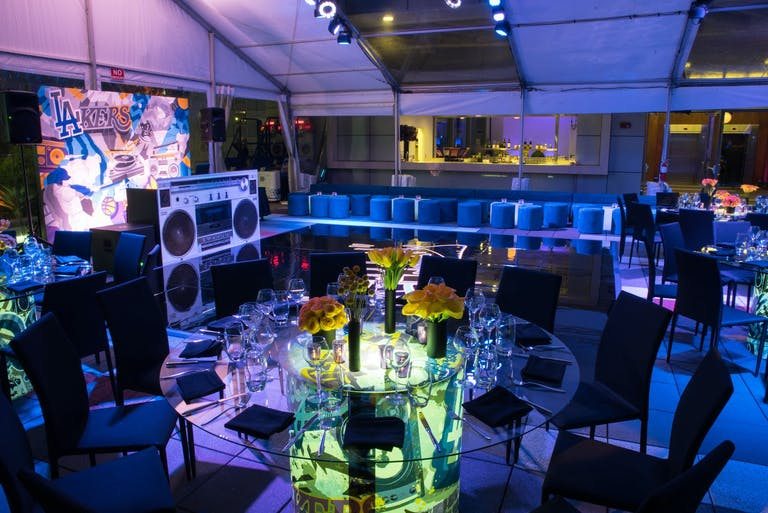 Music-Themed Bat Mitzvah Party With Neon Tablescapes   PartySlate