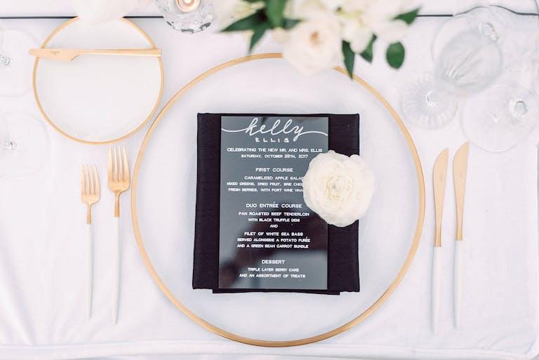 Acrylic menu for a modern chic wedding   PartySlate