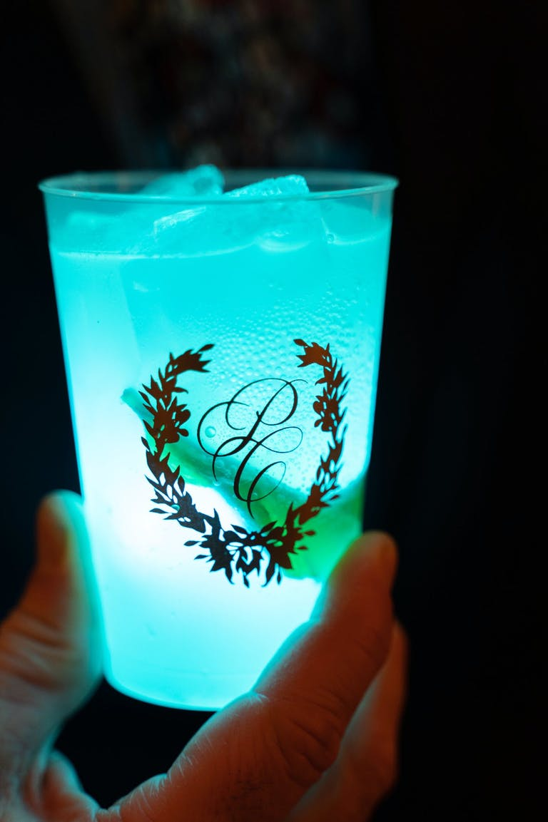 Glow-in-the-Dark Blue Cocktail in Monogrammed Wedding Cup   PartySlate