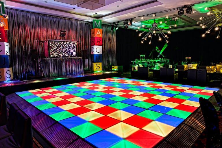 Neon Rubik's Cube Dance Floor   PartySlate