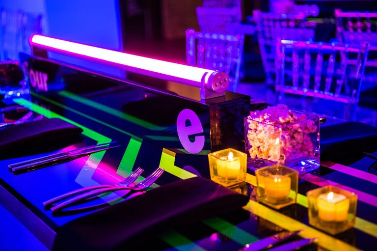 Neon Bar Mitzvah Party With Neon Centerpiece   PartySlate